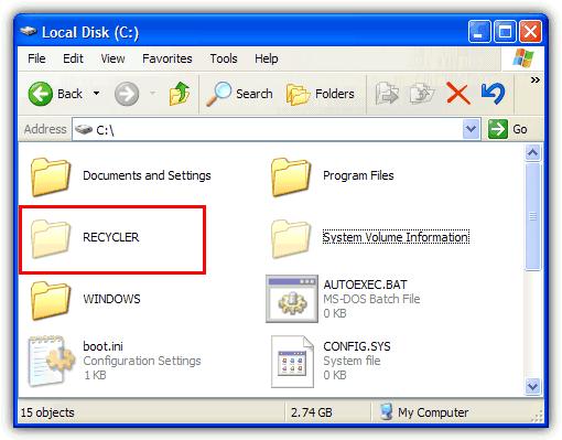 папка утилизатора на диске c
