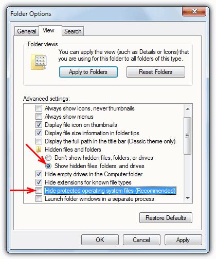 показать скрытые или скрытые файлы и папки