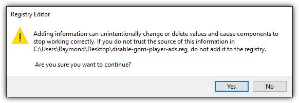 regedit отключить рекламу gom player