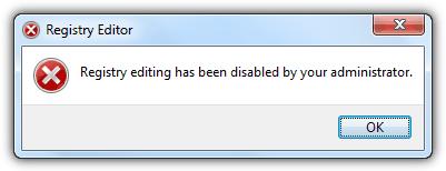 редактирование реестра было отключено