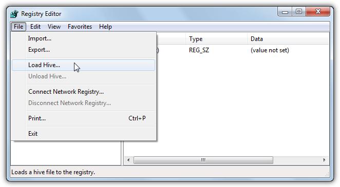 загрузка реестра редактором реестра