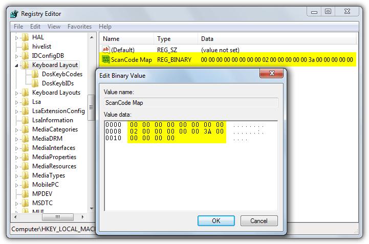 значение карты скан-кода реестра