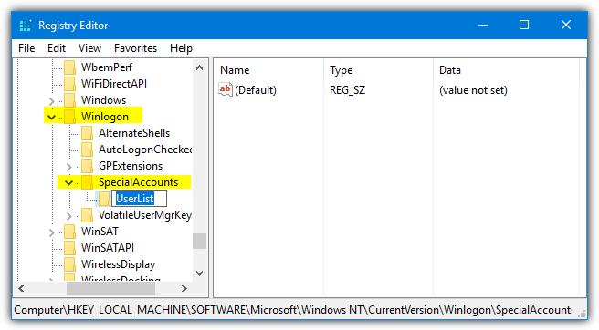 список пользователей в ключе specialaccounts