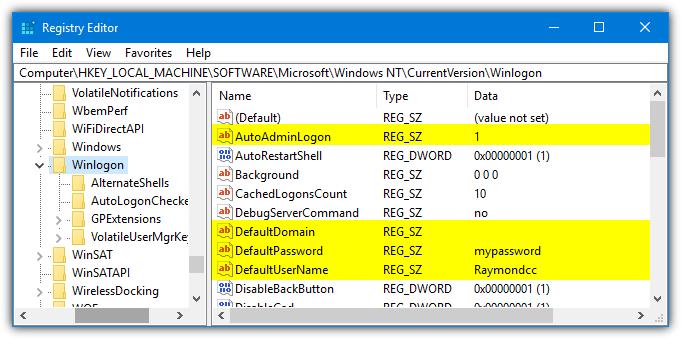 редактировать значения реестра winlogon