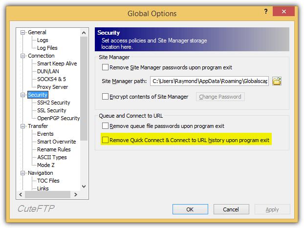 удалить быстрое подключение при выходе из программы