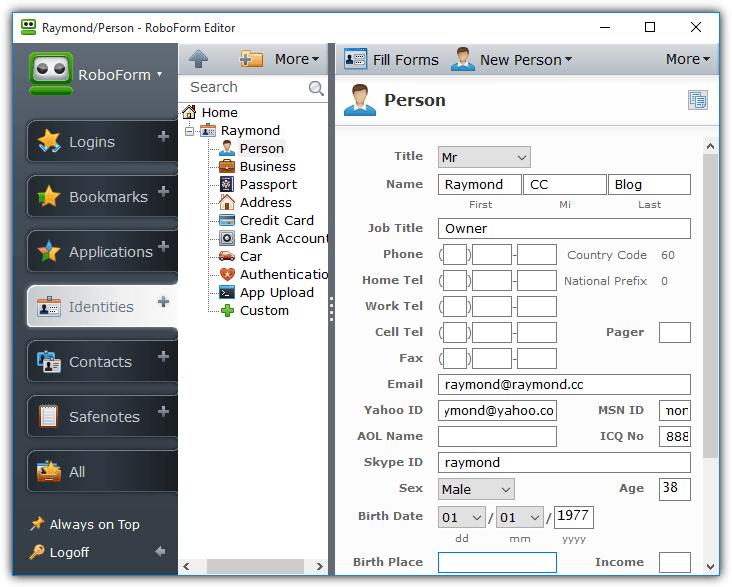 Робоформный редактор идентичностей