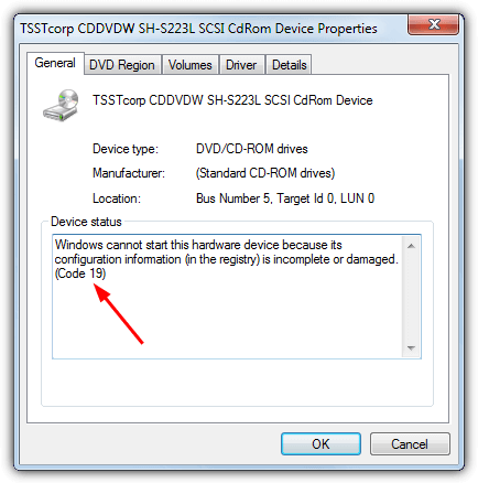 rom диск код ошибки 19 в диспетчере устройств
