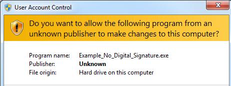 Без сертификата подписи кода
