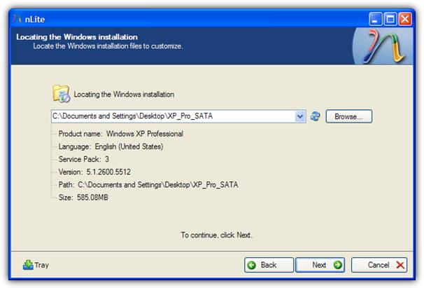 nlite найти установку Windows