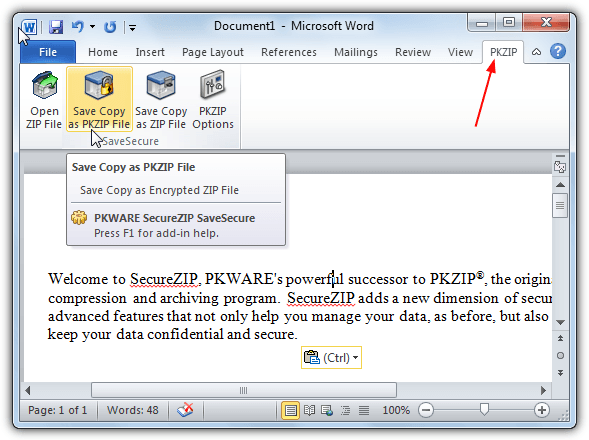сохранить securezip из офиса