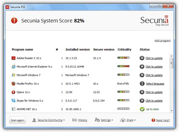 Список программного обеспечения Secunia