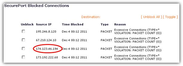 безопасный порт заблокированных соединений