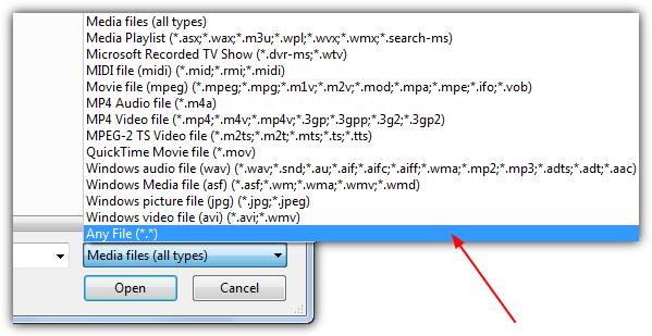 выбрать все файлы wmp