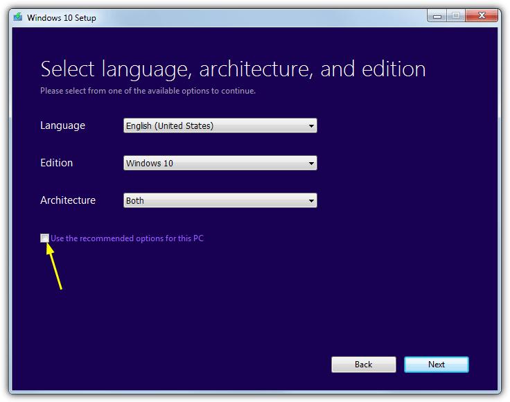 выберите параметры загрузки windows 10 iso