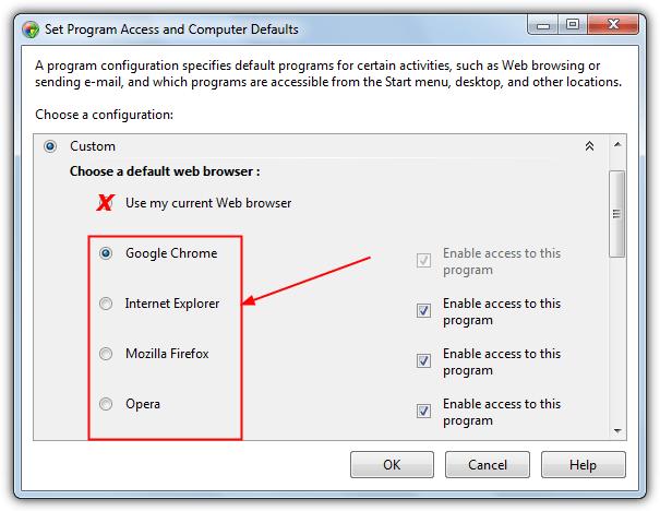 установить программы по умолчанию для браузера