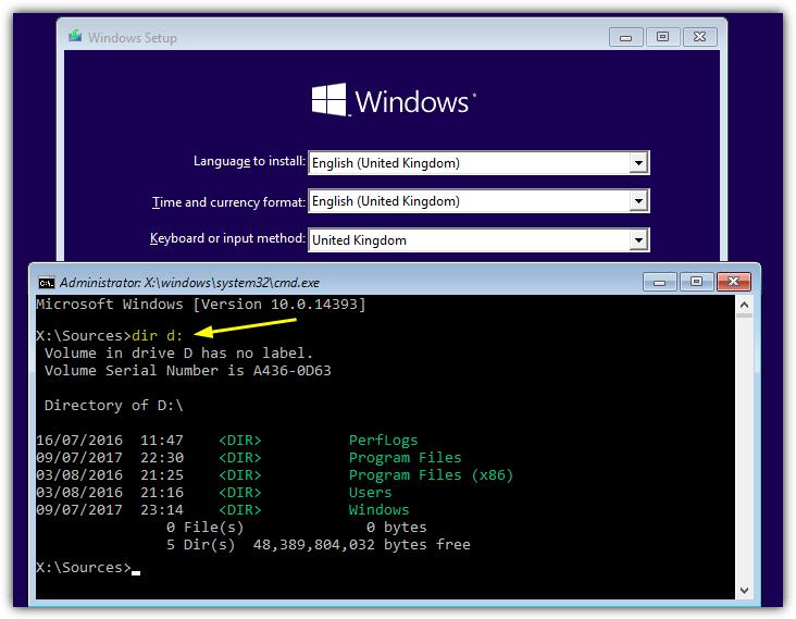 """используйте команду dir, чтобы найти диск Windows """"width ="""" 732"""