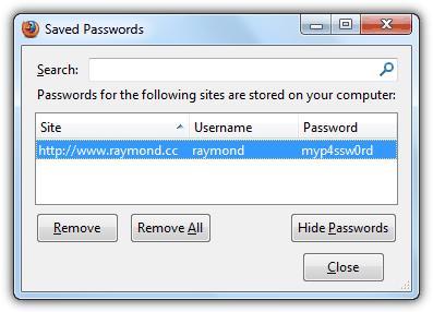 Показать Firefox сохраненный пароль