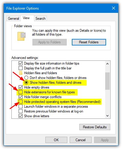 показать скрытые и системные файлы