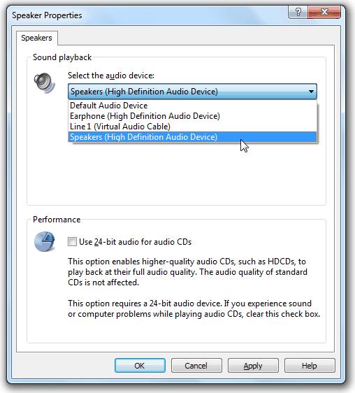 Проигрыватель звука проигрывателя Windows Media