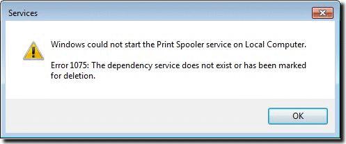 Windows не может запустить службу диспетчера очереди печати 1075