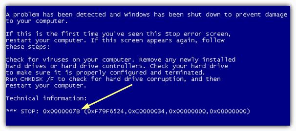 Windows Stop 7B Ошибка