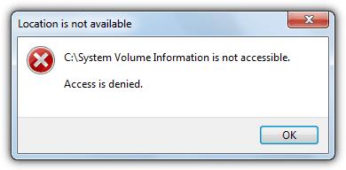 ошибка информации о томе системы