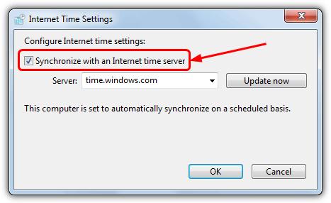 синхронизировать сервер времени windows