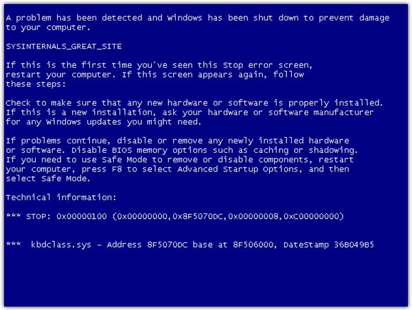 sysinternals синий экран