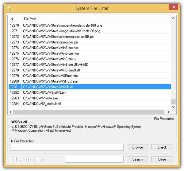 список системных файлов