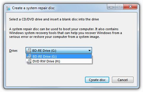 диалог создания диска восстановления окон