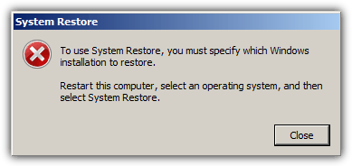 Чтобы использовать восстановление системы, необходимо указать, какую установку Windows необходимо восстановить