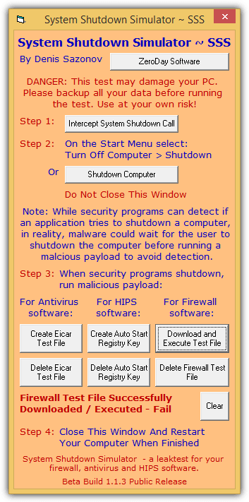 Симулятор выключения системы