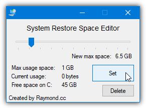 Редактор пространства восстановления системы