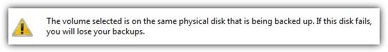 выбранный том находится на том же физическом диске