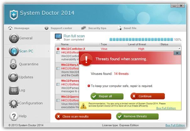 системный врач поддельный антивирус