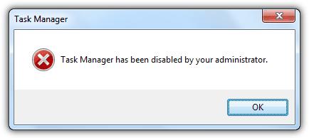 Диспетчер задач отключен вашим администратором