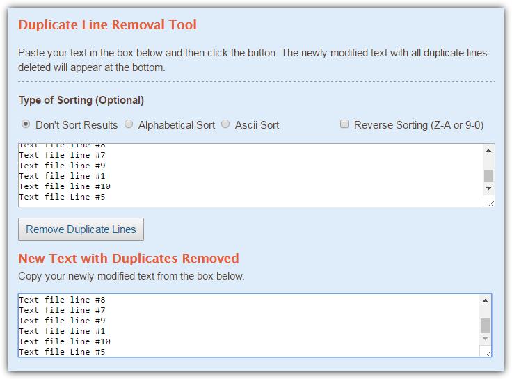 textfixer удалить дубликаты строк
