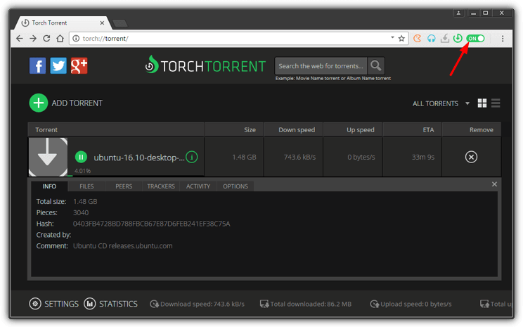 torch browser torrent window