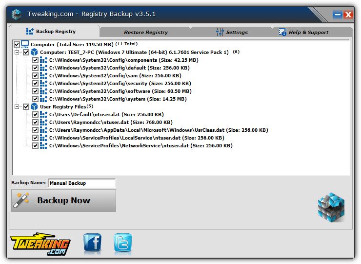 tweaking.com резервное копирование реестра