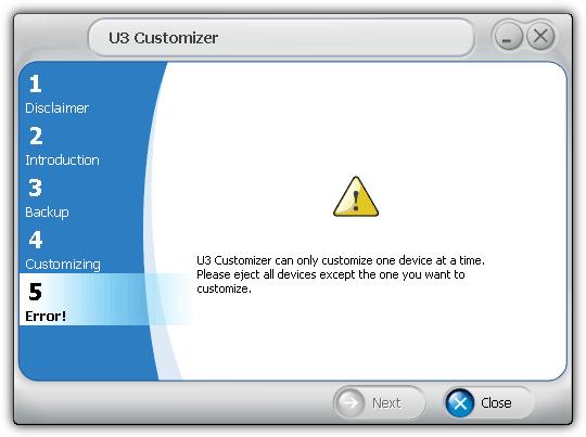 U3 Customizer может настроить только одно устройство одновременно