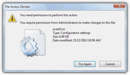 доступ к файлу запрещен