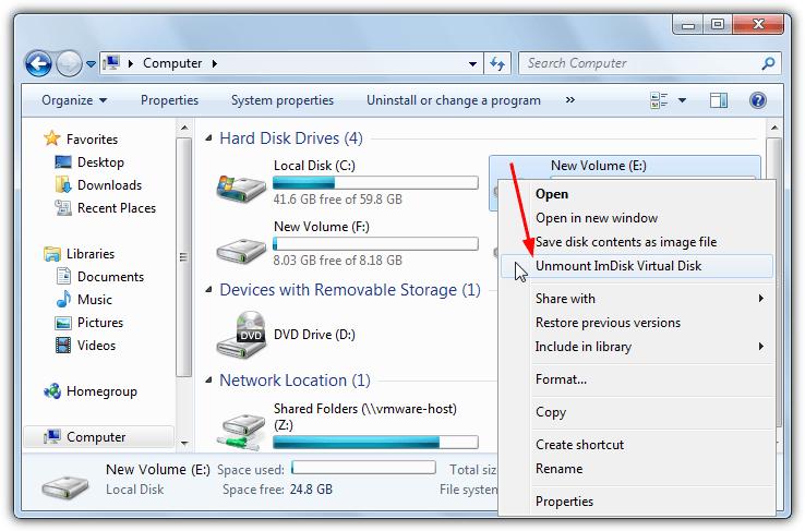 размонтировать виртуальный диск с контекстным меню