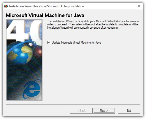 обновить виртуальную машину Microsoft для Java