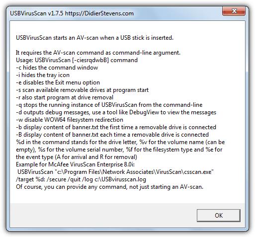 USBVirusScan переключатели