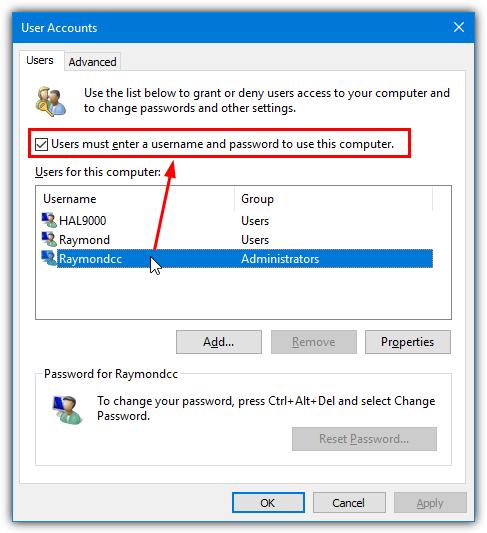 снять отметку с поля ввода пароля пользователя