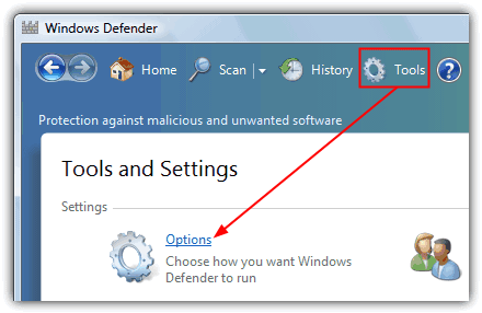 Опция Windows Defender Tools