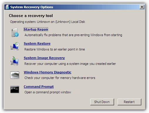 Параметры восстановления системы USB