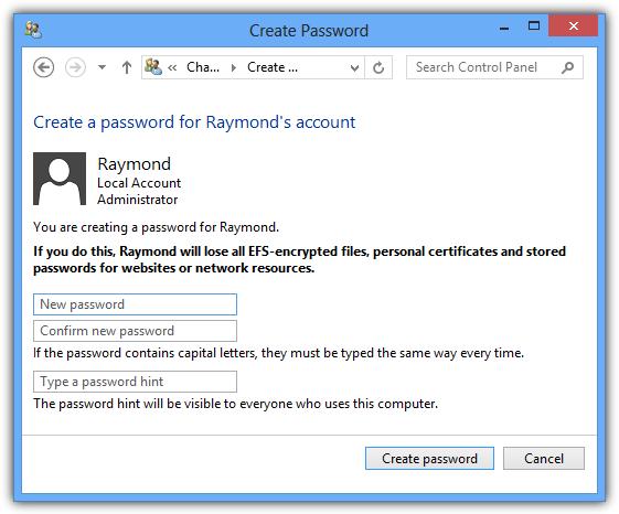 Создать пароль в Windows 8