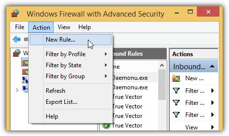 брандмауэр Windows добавить новое правило
