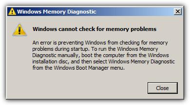 Ошибка не позволяет Windows проверить наличие проблем с памятью при запуске